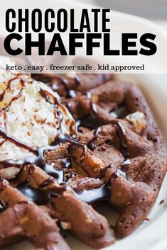 Keto Chocolate Chaffle Recipe - Easy dessert chaffle filled with cream cheese an. - Keto Chocolate Chaffle Recipe – Easy dessert chaffle filled with cream cheese and chocolate. Dessert Simple, Keto Dessert Easy, Low Carb Desserts, Easy Desserts, Low Carb Recipes, Dessert Recipes, Recipes Dinner, Holiday Desserts, Cheap Recipes