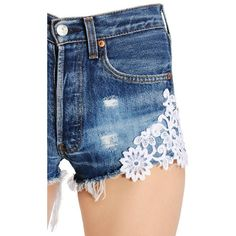 Forte Couture Women Lace & Distressed Cotton Denim Shorts ($340) ❤ liked on Polyvore featuring shorts, destroyed shorts, denim short shorts, ripped jean shorts, lace shorts and vintage jean shorts