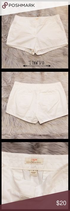 """J. Crew 100% Cotton Chino Broken In Shorts J. Crew shorts in a size 10.  100% cotton chino broken in.  Two front side pockets and two faux back pockets.  Has eye and hook and zipper closure.  Has six belt loops.  Measures 17"""" flat lay waist, 9"""" rise, and 11"""" in length. In excellent condition. J. Crew Factory Shorts"""