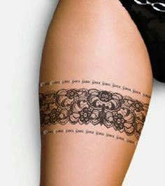 Garter lace tattoo (w/o tiny border- just flowers)