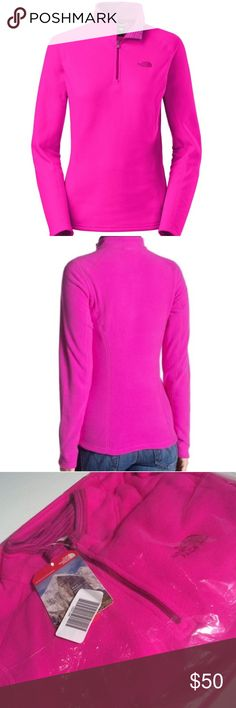 NWT North Face 1/4 Zip Glacier Pullover New with tags. Still in manufacturer packaging. Sold out online and in stores!  Gorgeous bright pink. Size Small. North Face Tops Sweatshirts & Hoodies