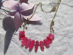 Pink Candy Jade Necklace 20 Inches Long Gold by MoonwitchDesigns, $23.00