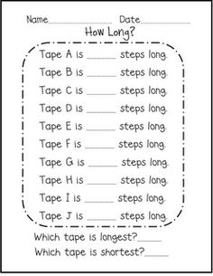 F is for First Grade: Measurement. Could try this with sidewalk chalk outside. First Grade Measurement, Teaching Measurement, Measurement Activities, 1st Grade Math, Math Activities, Grade 1, Math Games, Nonstandard Measurement, Preschool Themes