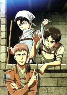 Shingeki no Kyojin, Jean Kirschstein, Eren Jaeger, Levi