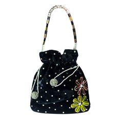 Black Velvet Party Draw String Potli Womens Hand Made Bag Christmas Sale Gift! #ArishaKreationCo