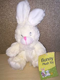 Happy #easter #white #bunny rabbit soft toy 21cm tag,  View more on the LINK: http://www.zeppy.io/product/gb/2/232156108183/