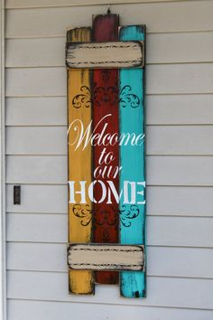 Wood Crafts - Welcome to our home rustic wooden sign, entry sign, porch sign, welcome porch sign Arte Pallet, Pallet Art, Diy Pallet Projects, Wood Projects, Pallet Ideas, Projects For Kids, Bar Outdoor, Outdoor Pallet, Art Furniture