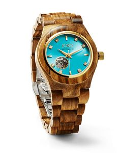 Cora Series Women's Wood Watch by JORD ... zebra wood and turquoise
