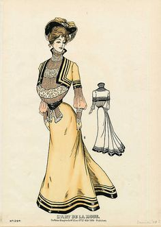 Such a lovely buttercup yellow hued early Edwardian dress. #Edwardian #dress #fashion #1900s