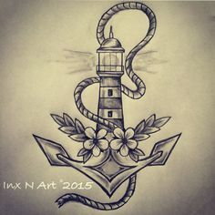 Anchor / lighthouse tattoo sketch / drawing by - Ranz
