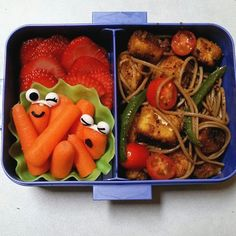 Andy's bento for today: strawberries,  carrots, and pan fried teriyaki tofu with soba noodles and stir fried veggies.  #bento