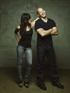 """Michelle Rodriguez and Vin Diesel"", stars of the ""Fast and Furious"" franchise."