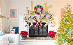 What a fun holiday home! We love the bright bold colors in this living space.