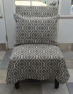 Pair - Slipcovered side chair & matching pillow