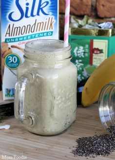 Green Tea Chia Smoothie - A vegan power beverage, with plenty of fiber, energizing green tea, protein from chia and calcium from almond milk.