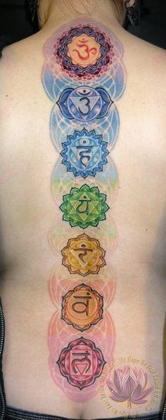 "Chakra spiritual tattoo, Inked by James Kern of ""No Hope, No Fear Tattoo Art Studio"" in Portland, OR Spine Tattoos, Back Tattoos, Great Tattoos, Future Tattoos, Beautiful Tattoos, Body Art Tattoos, New Tattoos, Tatoos, Fear Tattoo"