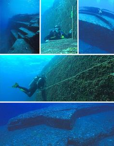 On the southern coast of Yonaguni, Japan, lie submerged ruins estimated to be around 8,000 years old. Though some people believed that it was carved by geographic phenomena, it's now confirmed to be man-made as the intricate stairways, carvings and right angles suggest. It was discovered in 1995 by a sport diver who strayed too far off the Okinawa shore with a camera in hand.