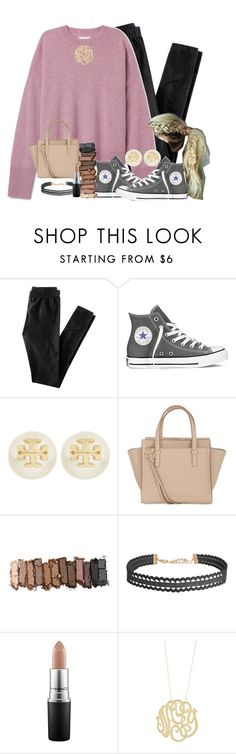 """days when u get to see bae>>"" by sydneylawsonn ❤ liked on Polyvore featuring H&M, Converse, Tory Burch, Salvatore Ferragamo, Urban Decay, Humble Chic, MAC Cosmetics and Ginette NY"