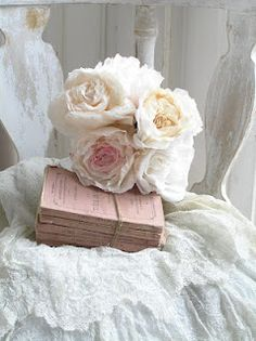 Books and flowers tied with twine. What a lovely gift this would be, just as is.