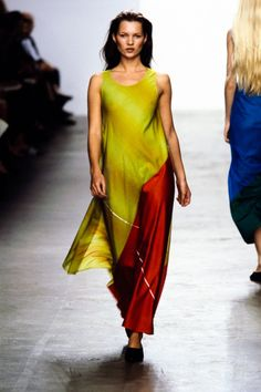 Klein's Spring 1999 collection was black, white, and bright colors all over. See…