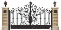 Quality Cast Iron Gates manufacturers & exporter - buy Double Entry Cast Iron Gates Powder Coat Wrought Iron Entry Gates from China manufacturer. Steel Gate Design, Front Gate Design, Main Gate Design, Door Gate Design, Fence Design, Garden Design, Wrought Iron Driveway Gates, Iron Garden Gates, Metal Gates