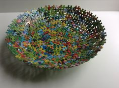 Large Decorative Multi Colored Jigsaw Puzzle Bowl