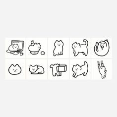 Cat Stickers, Printable Stickers, Cute Kawaii Drawings, Photo Wall Collage, Paper Dimensions, Overlays, Craft Projects, Card Making, Doodles
