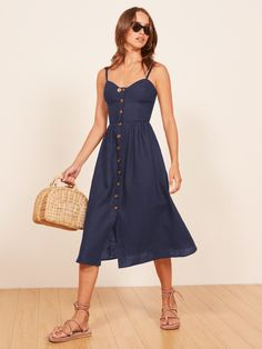 ef8a33272c3 Reformation Thelma Dress in Navy  198 Casual Summer Dresses