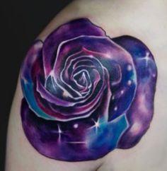 galaxy space rose tattoo, tattoo