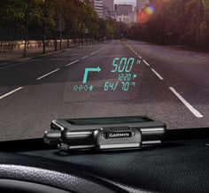 Garmin Head-Up Display GPS System.Unlike other car and phone GPS systems that require you to turn away from your windshield, the new Head-Up Display system projects directions right on the glass of your windshield. Using it is pretty easy. Your new dashboard accessory will connect to most smartphones (iPhone, Android, Windows, etc.) via Bluetooth and use the Garmin StreetPilot or Navigon apps to plot your course.