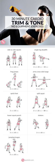 Work your legs hips and glutes with these lower body and cardio exercises. A 30 minute workout perfect for burning a ton of calories in a short period of time. www.spotebi.com/...