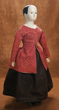 Remembering Mama: 47 Large Early German paper mache Doll with Glass Eyes