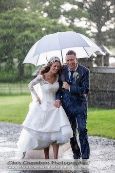 © Chris Chambers Photography #wedding #weddingphotography #ukwedding #uk_photographers #rain #rainy #realwedding #photoofaday #love #beautiful #white #umbrella #bride #style #fashionbride #ukbride