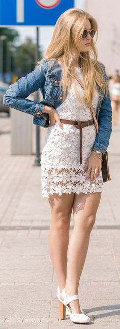 White Lace Little Dress by Marcherry