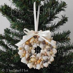 Beach Christmas Seashell Christmas Ornament Colorful Wreath REAL Shell by shellhut