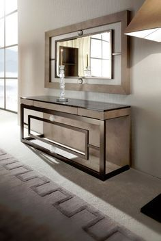 Contemporary console tables are essential to design pieces in any modern interior. This modern furniture is often found in entryways and hallway, the support fo Luxury Furniture, Home Furniture, Furniture Design, Contemporary Furniture, Furniture Ideas, Furniture Online, Furniture Companies, Modern Console Tables, Interior Design Inspiration