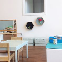display cases in the classroom by Simone Davies of www.themontessorinotebook.com