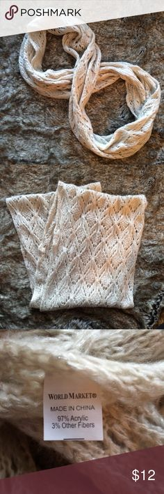 World Market Cream Infinity Scarf World Market cream knit infinity circle scarf with sparkly silver threads. Very good condition. World Market Accessories Scarves & Wraps