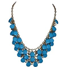 Blue and Gold - Bib style statement necklace (85 LTL) ❤ liked on Polyvore