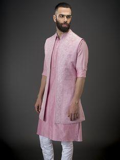 Cherry Cotton Kurta by Raghavendra Rathore Wedding Dress Men, Groom Outfit, Kurta Designs, Cotton Silk, Indian Wear, Indian Outfits, Bride Groom, Men's Style, Cloths