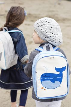 Click here for more: Lucas (Whale) Children's Backpack by Beatrix New York. Perfect for back to school, or as a gift for a Birthday or Christmas gift...Embroidered with our beloved forest creatures, these sturdy little packs hold everything a child needs for a busy day. Made from durable nylon and easy-to-clean laminated canvas. Large interior contains a smaller zipped pocket. Padded back panel and shoulder straps. For ages 2 to 5. PVC, lead, phthalate,  BPA free.