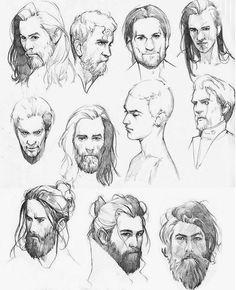 Pencil Drawings Of Girls, Art Drawings Sketches Simple, Amazing Drawings, Drawing Cartoon Faces, Drawing Heads, Male Face Drawing, Character Sketches, Character Drawing, Character Design