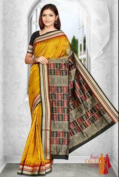 traditional Orissa Handloom Silk Yellow Mustard color Bomkai saree with black and Maroon border #kanchipuramsarees http://www.saridhoti.com