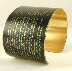 Dostoevsky Russian Literature - Crime and Punishment - Brass Cuff Bracelet - Book Gift
