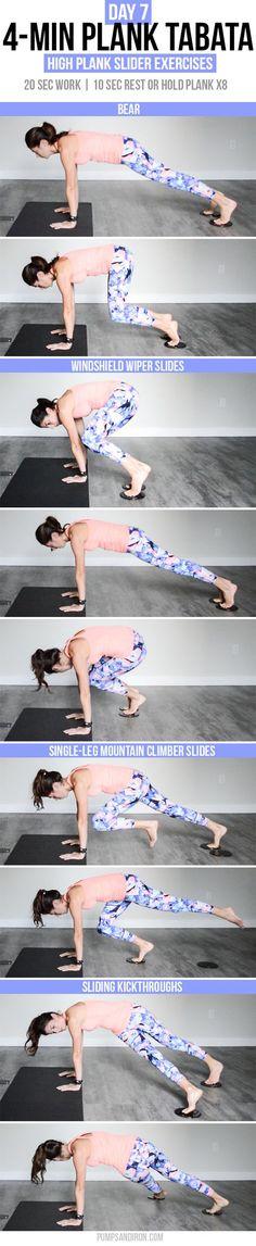 4-Min Plank Tabata Challenge (Day 7): Sliding High Plank Exercises