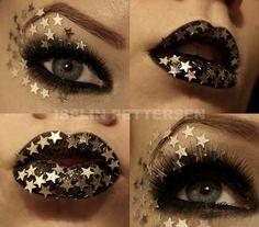 Gold Star & Black Makeup