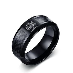 8mm Matte Finish Black IP Comfort Fit Cobalt Chrome Ring with Tribal Pattern Engraving Design Jewelry Avalanche 2-tone Cobalt Wedding Band