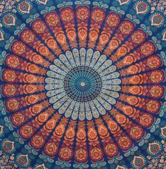 Amazon.com - Popular Handicrafts Hippie Mandala Bohemian Psychedelic Intricate Floral Design Indian Bedspread Magical Thinking Tapestry 84x90 Inches, (215x230cms) Blue -