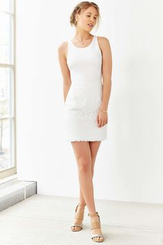 Kimchi Blue Ponte Lace-Skirt Mini Dress