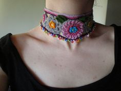 Gerbera Freeform Crochet Necklace
